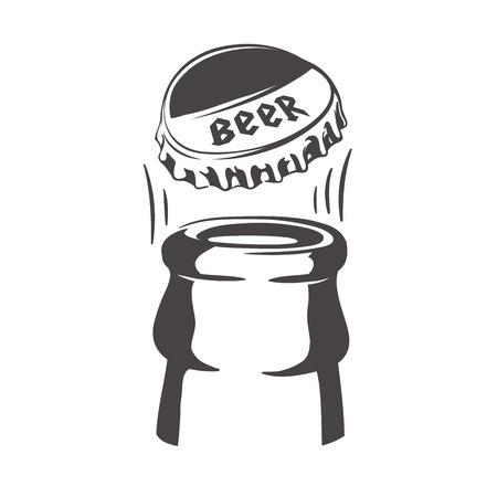 Eröffnung einer Flasche Bier. Bierflasche. Bierflaschenkappe. Bierflasche-Symbol. Bierflaschendeckel-Symbol.