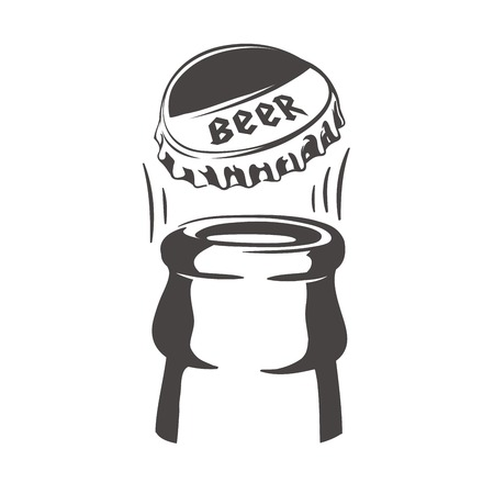 Opening of a bottle of beer. Beer bottle. Beer bottle cap. Beer bottle icon. Beer bottle cap icon. Illustration