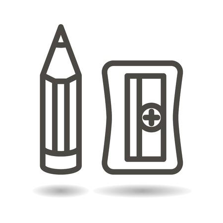 sharpen: Pencil and sharpener icon. Pencil and sharpener EPS10. Pencil and sharpener flat. Pencil and sharpener app. Pencil and sharpener web. Pencil and sharpener art. Pencil and sharpener simple.