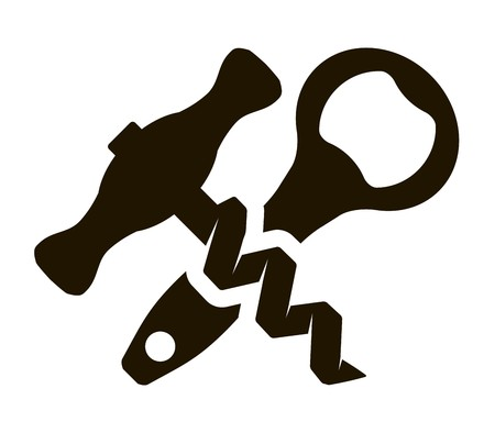 opener: Bottle opener and corkscrew. Bottle opener icon. Bottle opener flat. Bottle opener app. Bottle opener sign. Corkscrew icon. Corkscrewr flat. Corkscrew app. Corkscrew sign. Illustration
