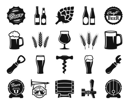 opener: beer, brewing, ingredients, consumer culture. set of black icons on a white background