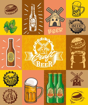 barley hop: beer, brewing, ingredients, consumer culture. set of simple illustrations on a color background