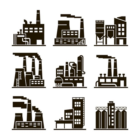 black pictogram: Industrial building. Industry. Production. Energetics. Eecycling. Black icons on white background.