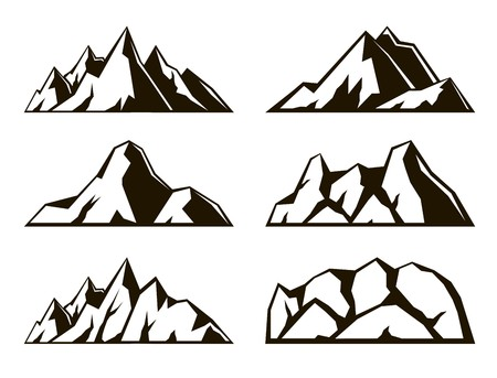 breakage: mountains. set of six black icons on white background