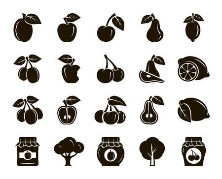 frutas. cosecha. árboles frutales. estofado de frutas y mermelada. conjunto de iconos de color negro sobre un fondo blanco Ilustración de vector
