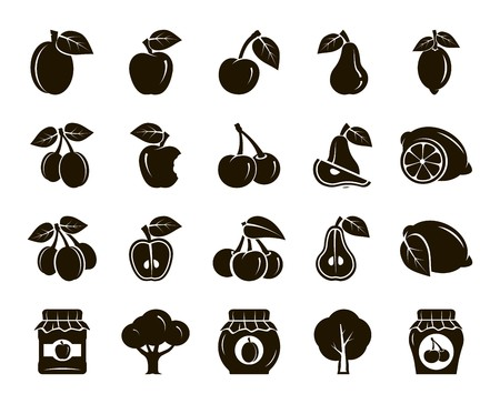 arboles frutales: frutas. cosecha. árboles frutales. estofado de frutas y mermelada. conjunto de iconos de color negro sobre un fondo blanco Vectores