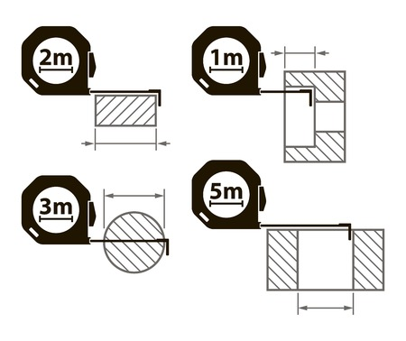 engineering tool: Measuring tape. Measurement methods. Set of icons on white background Illustration