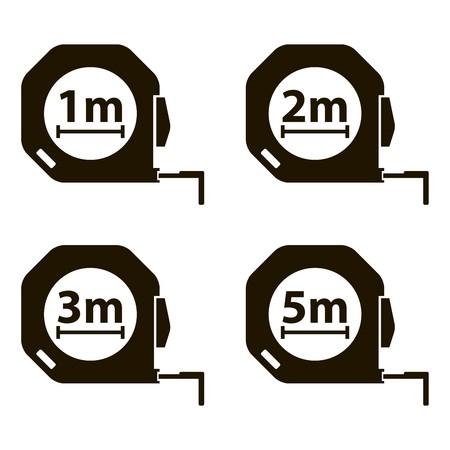 cintas metricas: Cinta métrica. métodos de medición. Conjunto de iconos de negro sobre fondo blanco