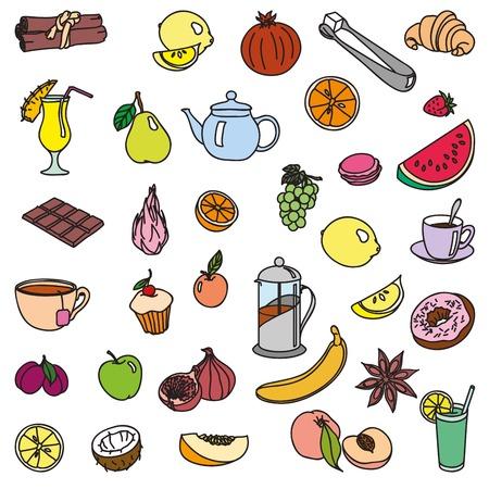 foodstuffs: foodstuffs. fruit. vegetables. food. set of color sketches on a white background