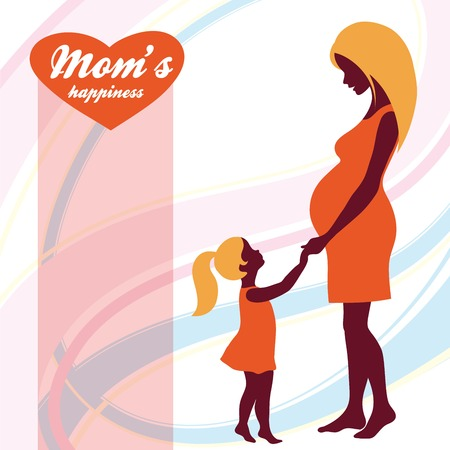 Happy Mothers Day. Motherhood and Childhood. Mothers love. colored illustration Illustration