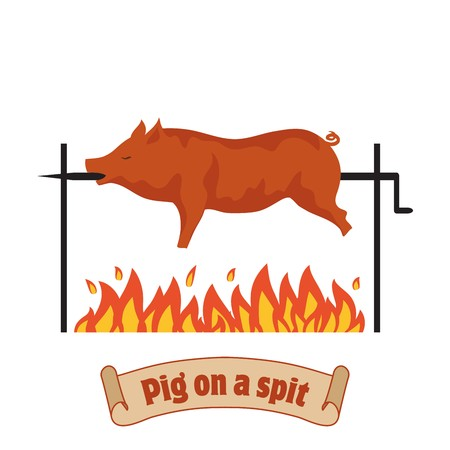 pork: Grilled pig. Pig on spit. Roasting piglet. BBQ pork.