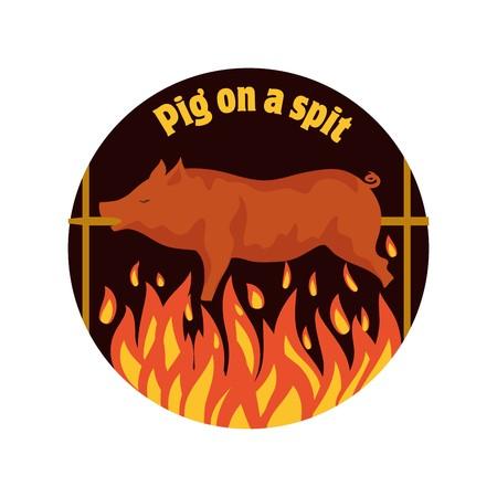 Grilled pig. Pig on spit. Roasting piglet. BBQ pork.