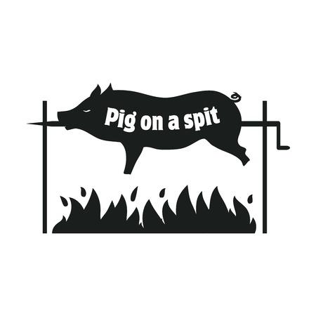 spit: Grilled pig. Pig on spit. Roasting piglet. BBQ pork. Black icon on a white background Illustration