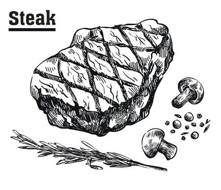 Beef steak. Meat and spices. Sketches drawn by hand on a white background