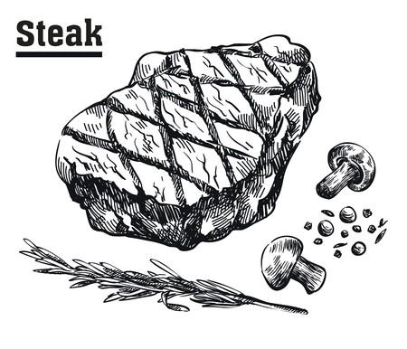 Stek wołowy. Mięso i przyprawy. Szkice rysowane ręcznie na białym tle