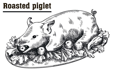 Roast suckling pig. Roasted piglet with vegetables on platter. Sketch drawn by hand on a white background
