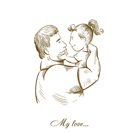 paternity: dad and daughter. fatherhood and childhood. paternal feelings. love for children.