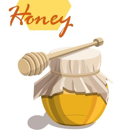 Honey jar and wooden dipper stick .