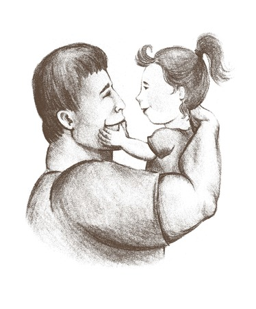 paternal: dad and daughter. fatherhood and childhood. paternal feelings. love for children. characters on a white background