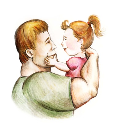 paternity: dad and daughter. fatherhood and childhood. paternal feelings. love for children. characters on a white background