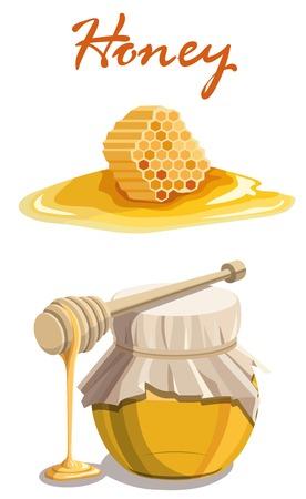 Honey jar, wooden dipper stick and honeycomb .