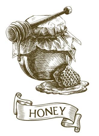 dipper: Honey jar, wooden dipper stick and honeycomb .