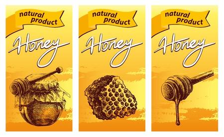 wooden stick: Honey jar, wooden dipper stick and honeycomb .