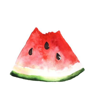 Watermelon slice. Colored illustration made with watercolors Stock Photo