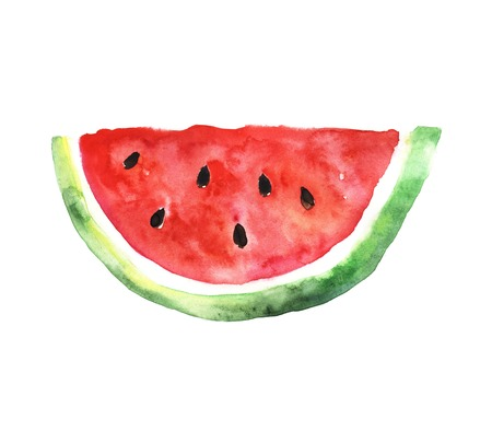 sliced fruit: Watermelon slice. Colored illustration made with watercolors Stock Photo