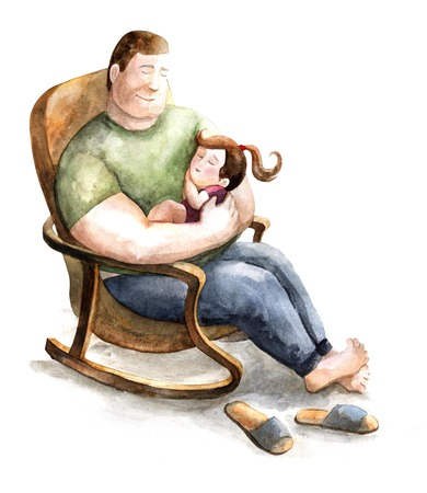 concerns: dad and daughter. fatherhood and childhood. paternal feelings. love for children. characters on a white background