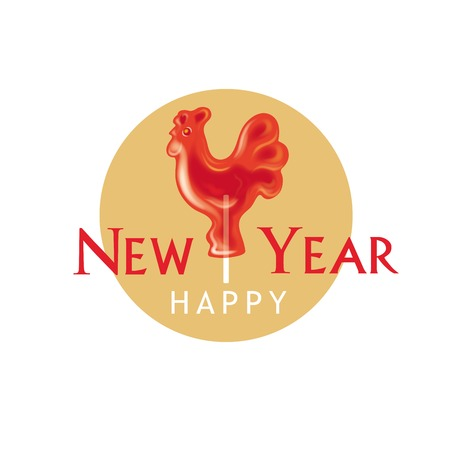 Symbol of new year 2017. Rooster in shape of lollipop on stick. Color vector illustration