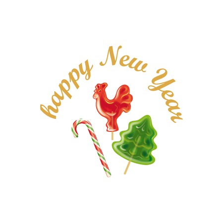 New year. Peppermint candy canes. Christmas tree and rooster on stick. Color vector illustration
