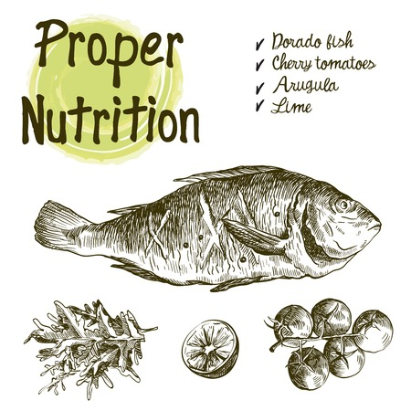 dorado. Ingredients and spices for cooking fish. Set of vector sketches on a white background
