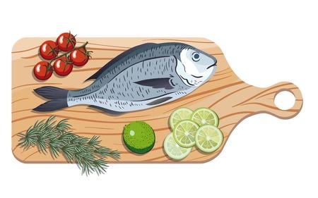 dorado: dorado. Ingredients and spices for cooking fish. Color vector illustration