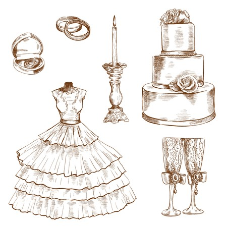 cérémonie mariage: wedding ceremony attributes. set of vector sketches on a white background