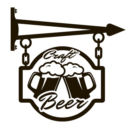 draught: Draught beer crafting. Street signboards. Black icon on a white background Illustration