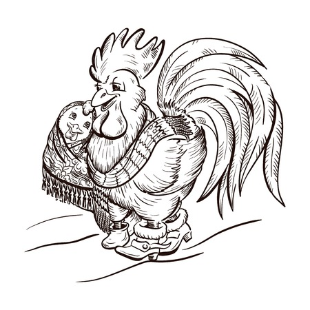 aviculture: rooster and chicken Illustration
