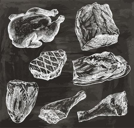 natuurlijk vlees. gevogelte. rundvlees. varkensvlees. schaap Vector Illustratie
