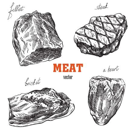 肉製品のスケッチ  イラスト・ベクター素材
