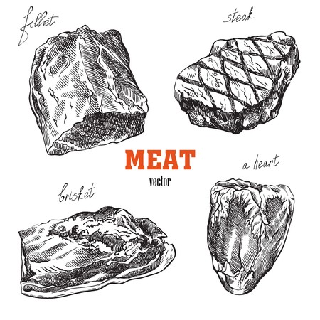 meat products sketches Ilustracja