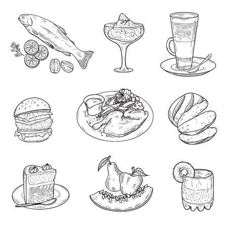 aliments: foodstuffs. menu items. Illustration