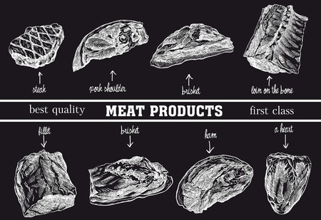 meat products sketches 矢量图像