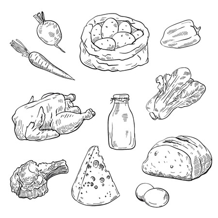 Natural products. set of sketches Ilustrace