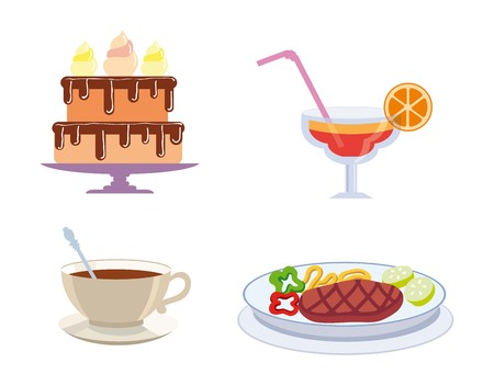 main course: foodstuffs color icons Illustration