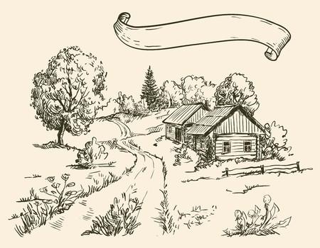 rural road: Village houses and farmland Illustration