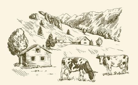 Village houses and farmland Stock Illustratie