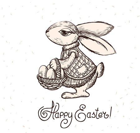 Easter rabbit with basket of eggs.