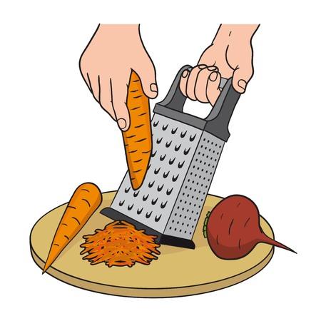 Processo di grattugiare le verdure su una grattugia da cucina Vettoriali