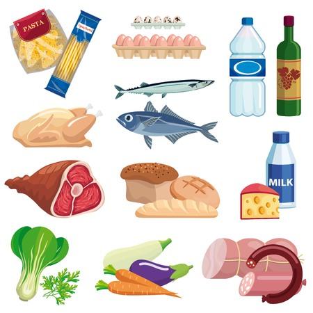 denrées alimentaires. ensemble d'icônes vectorielles colorées sur un blanc Vecteurs