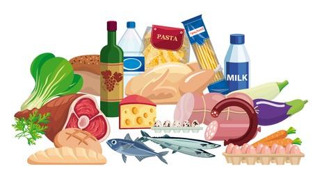 Denrées alimentaires. Ensemble de nourriture et de boissons. Illustration couleur Banque d'images - 79742696